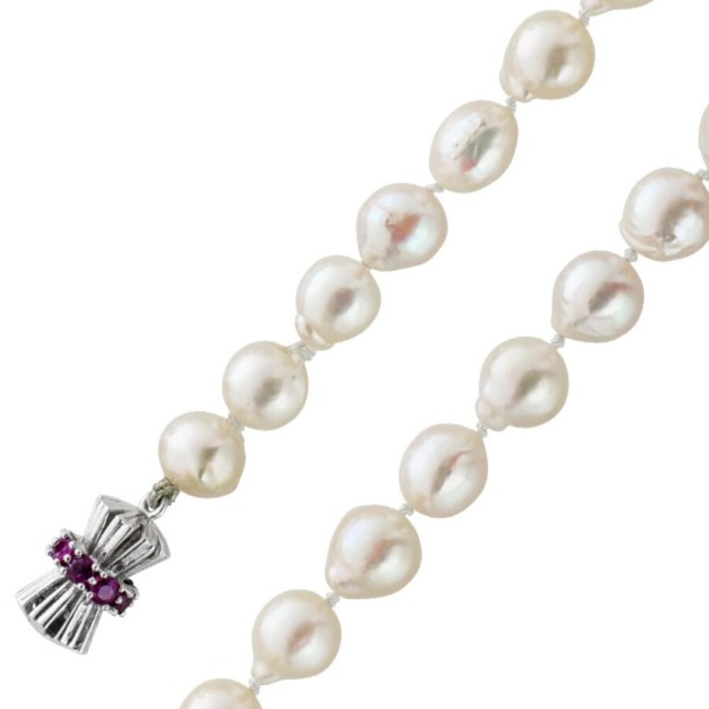 Japanische Akoyazuchtperlen Kette Perlen Collier Barockform creme-rose Weissgold 585 Schließe nat. Einschlüssen rote Rubine 86cm