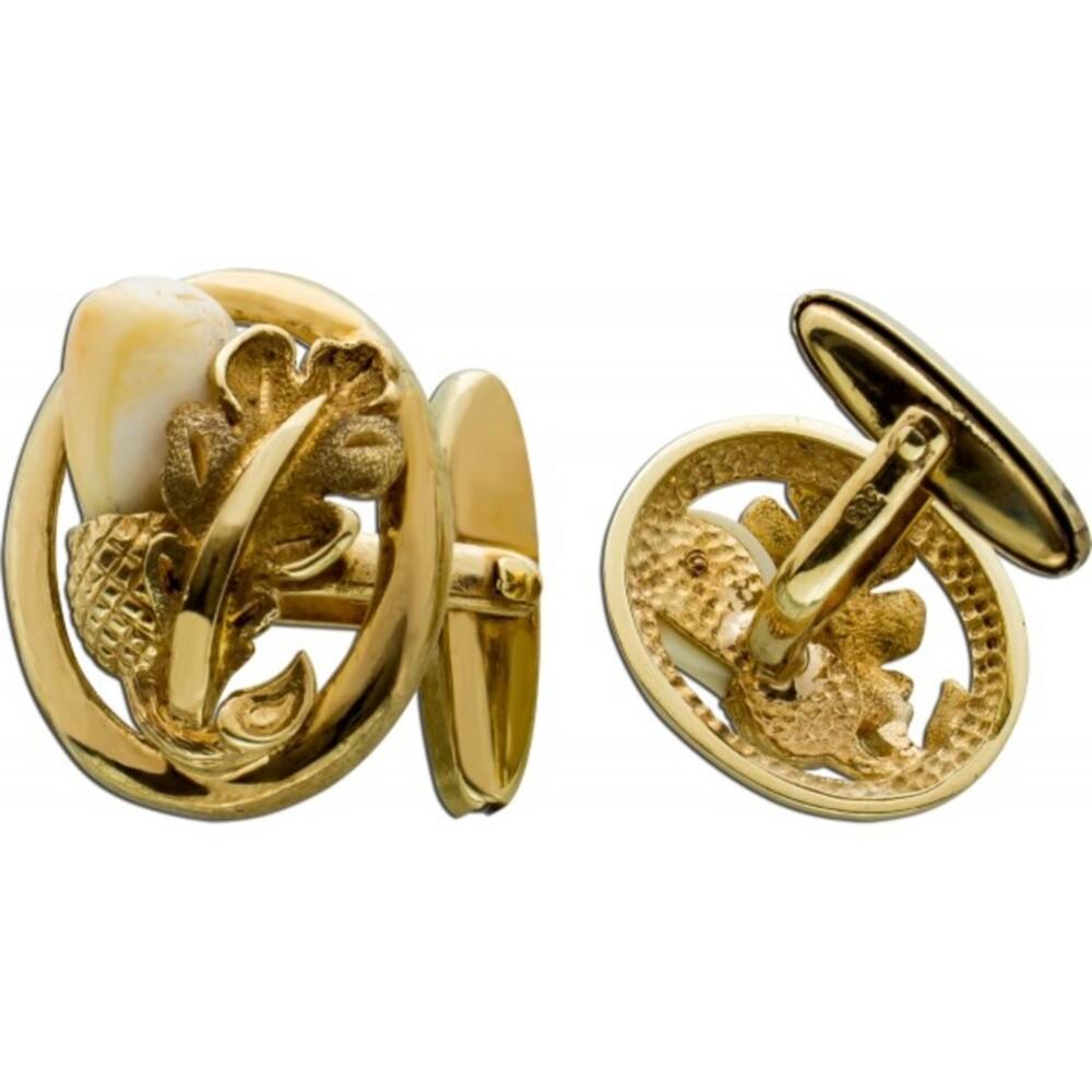 Antike Manschettenknöpfein Gelbgold 333 Jagd Design Grandeln Eichenblätter Herren Trachtenschmuck