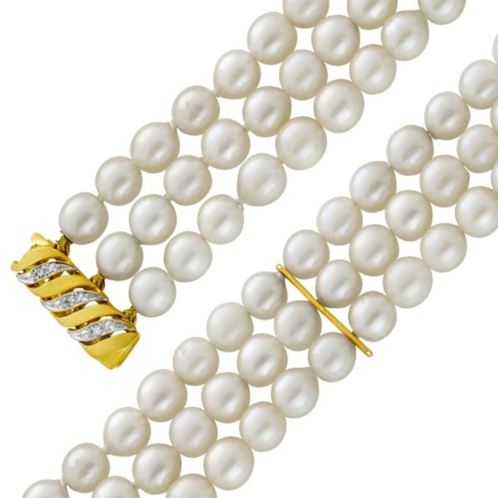 Antikes 80er Jahren Japanisches Akoyazuchtperlen Armband weiß Gelb Weißgold 585  Diamanten 0,03 CT