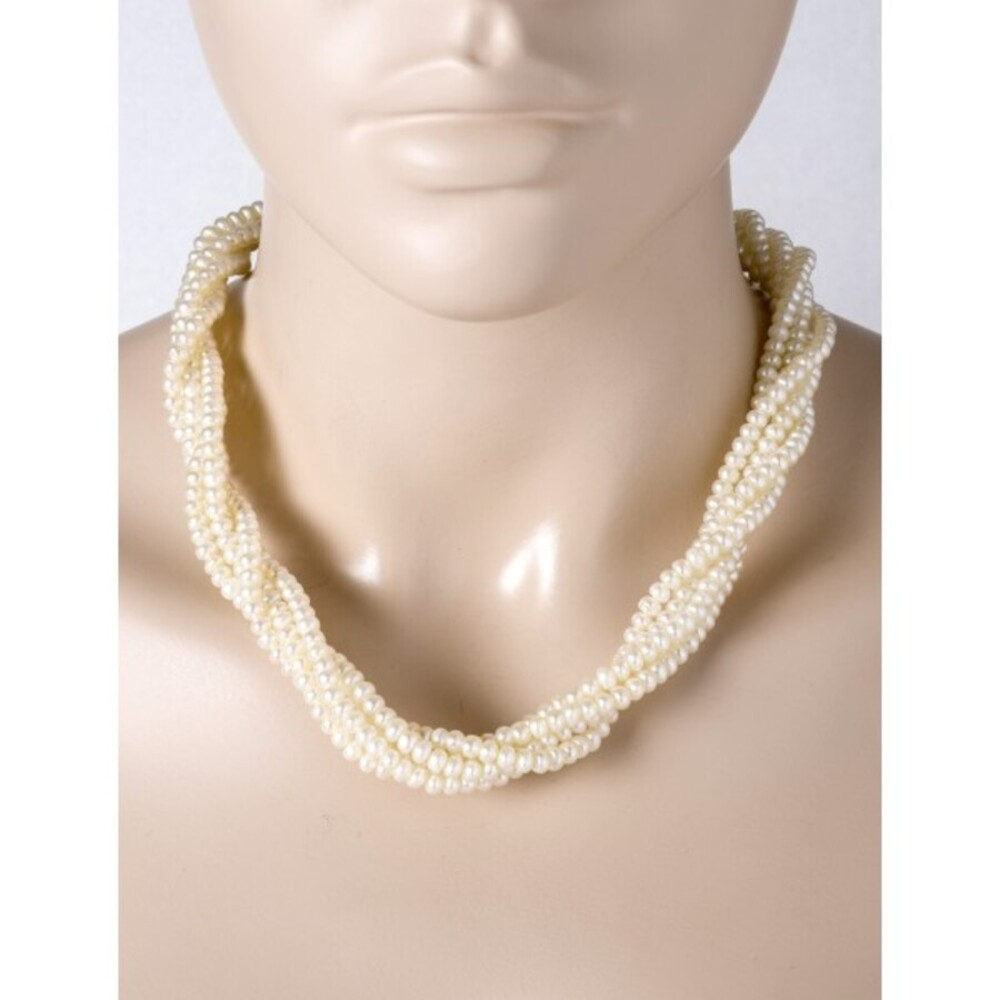 5-reihiges Antikes Perlen Collier  80er Jahren Biwaperlen weiß rose Lustre Metall  1