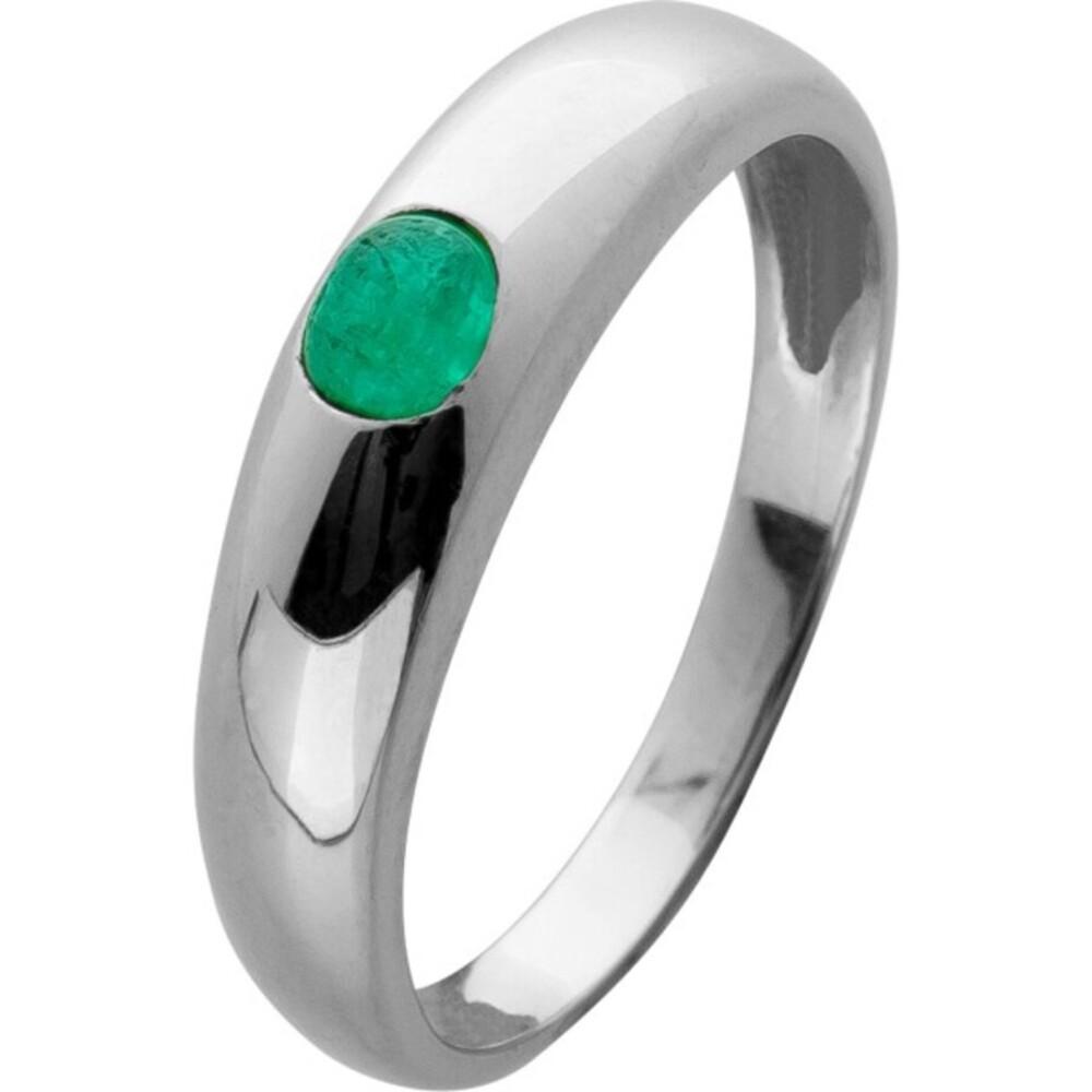 Edelstein Smaragd Ring Weißgold 585 grüner runder Smaragd Cabochon Bandring Gr. 16,2mm