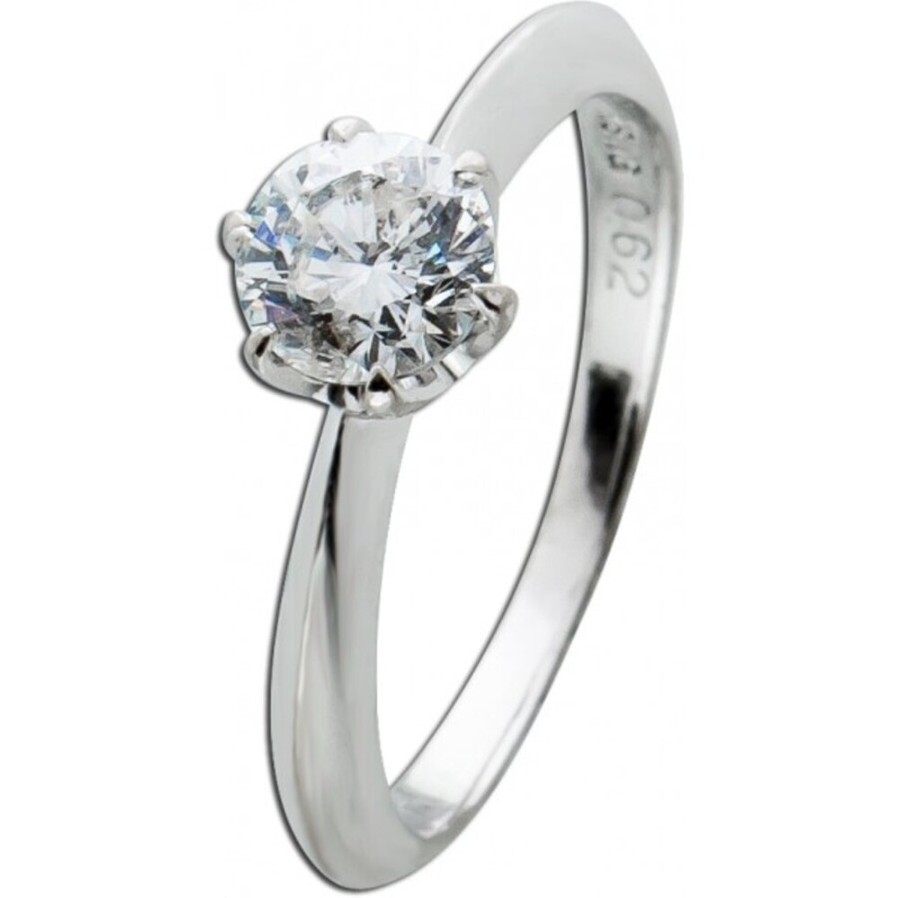 Solitär Ring Weissgold 750 Diamant Brillant 0,62ct TW/P1 Krappenfassung massiv Vorsteck- Verlobungsring