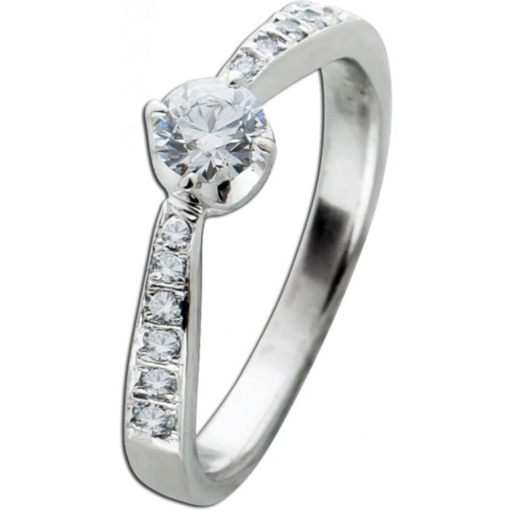 Solitär Vorsteck Beisteck Ring Platin 950 Diamant Brillant TW/VSI zus 0,38ct Verlobungring Diamantring