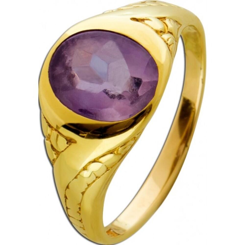 Antiker Edelstein Amethyst Ring Gelbgold 750 um 1900 lila violett leicht Tragespuren Cabochon / facettiert Gr. 17,5mm