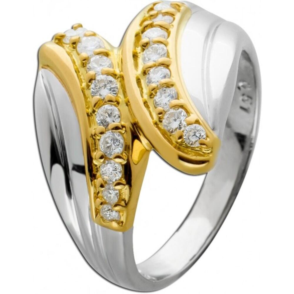Antiker Ring 70er Jahren weißen Brillanten Platin 900 Gelbgold 750 0,51ct TW/VSI 1