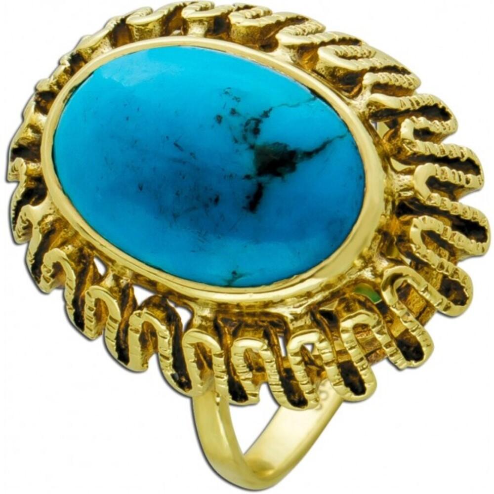 Antiker Türkis Edelstein Ring um 1930 Gelbgold 585 Türkis Cabochon goldbaune Einschlüsse Gr. 16mm