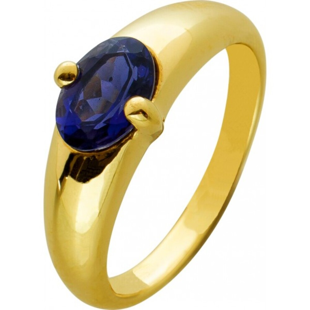 Blauer Safir Edelstein Ring Gelbgold 333 violetter Edelstein massive Optik Gr. 18mm