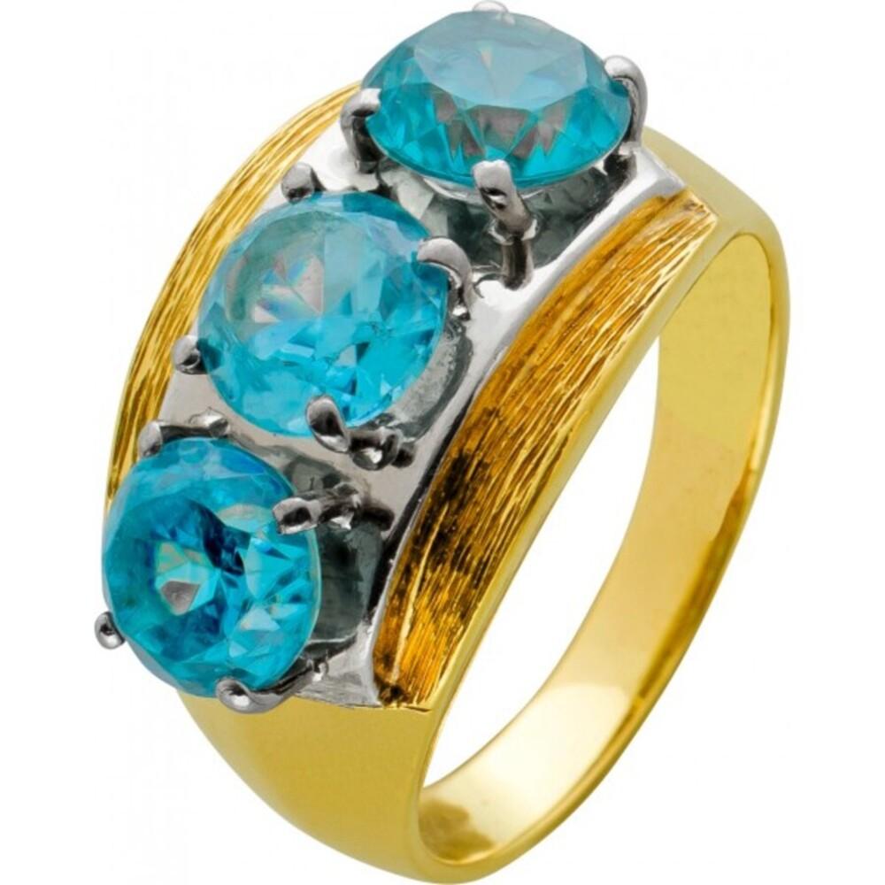 Antiker Edelstein Ring Bicolor Gelb Weissgold 585 blau um 1920 rund facettiert