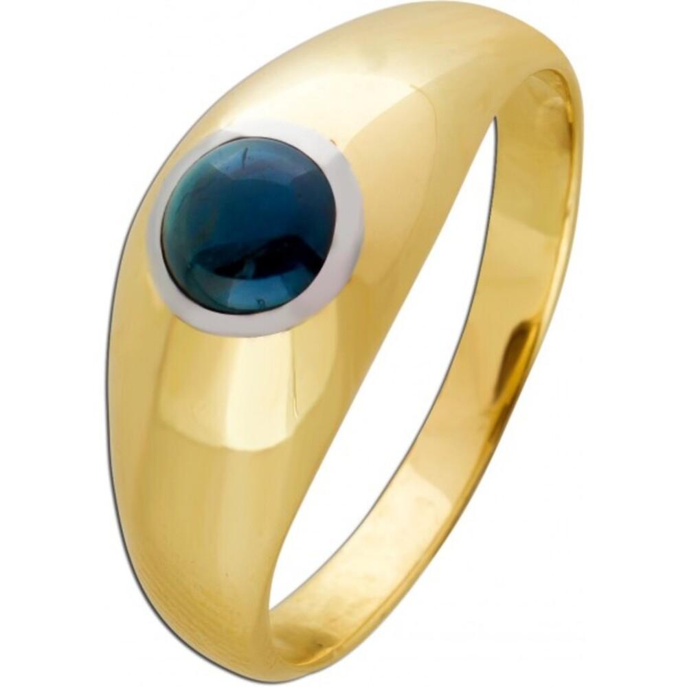 Klassischer Bandring blauen Saphir Gelbgold 585 Edelsteinschmuck