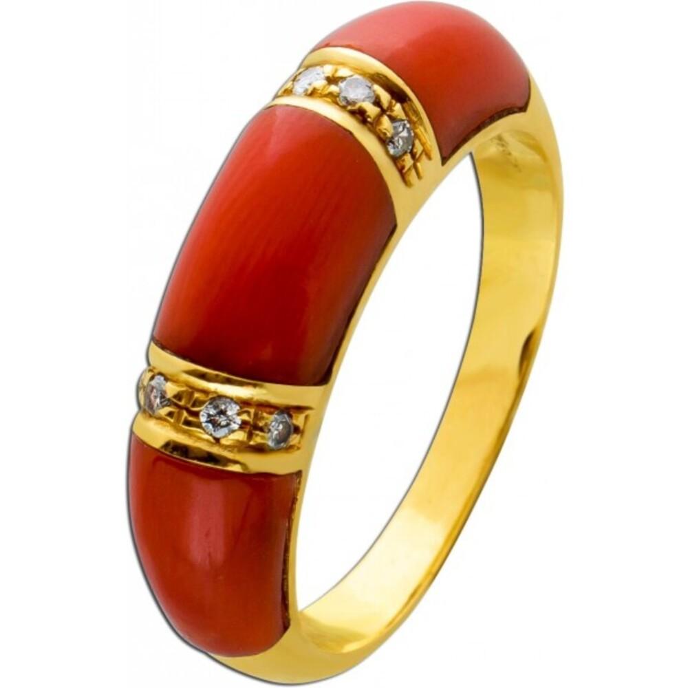 Antiker Korallen Diamant Ring 50er Jahren Koralle orange-rot Gelbgold 750 weißen Diamanten 0,04 Carat 8/8 W/P1 Edelsteinschmuck