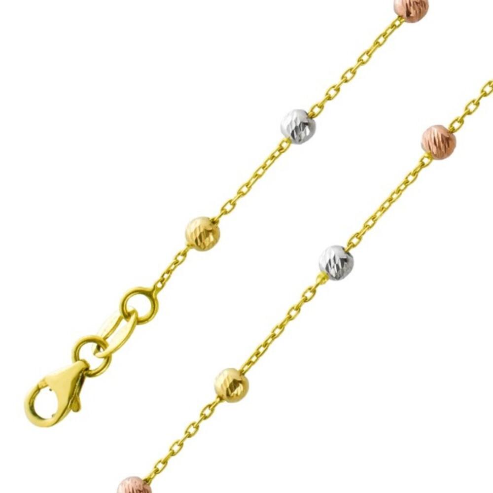 Tricolor Kugel Collier Gelbgold Weißgold Rosegold 750 Diamantierte Zwischenteile