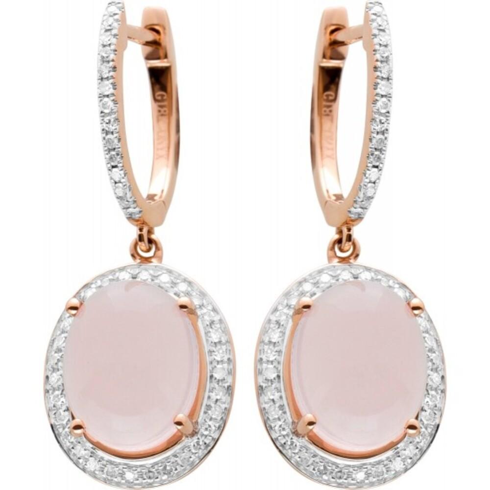 Scharniercreole Rosegold 750 bewegliche Anhänger 2 Rosenquarz Edelsteine 110 Diamanten zus 0,50ct 8/8 TW SI