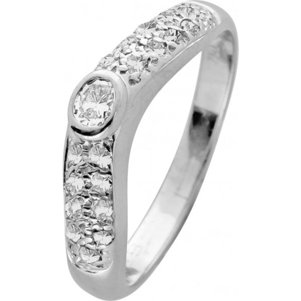Antiker Brillantring Weißgold 750 massiv Diamant Ovalschliff 0,23ct TW/VVSI Brillanten zus 0,31ct TW VVSI leichte V-Form RG 17mm 3,8 Gramm