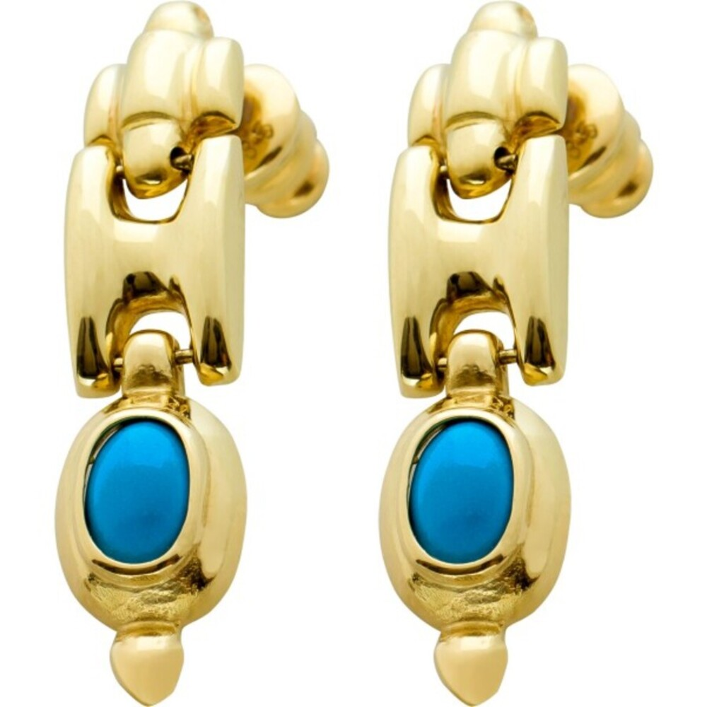 Antike Türkis Ohrhänger Ketten Design Gelbgold 585 Edelsteinschmuck