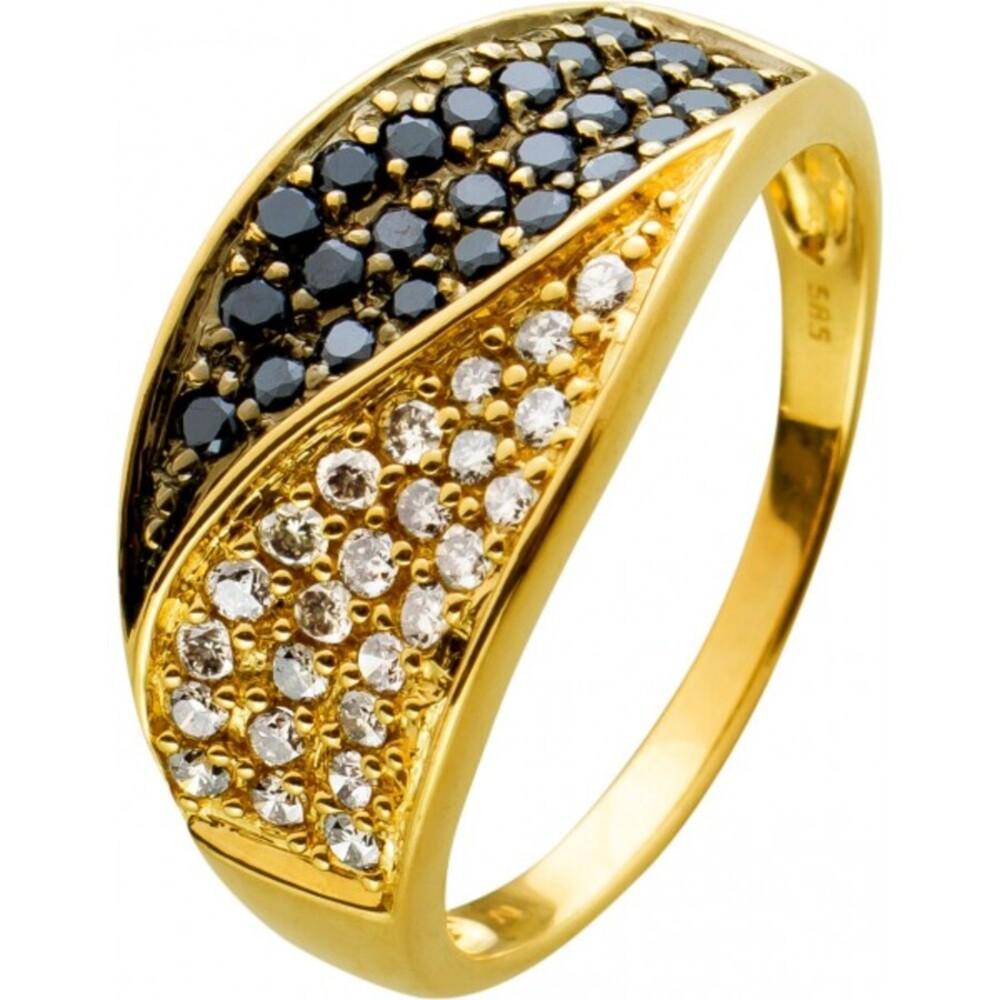 Ring im Ying Yang DesignGelbgold 585 mit 25 schwarzen Brillanten und 25 leichtcreme farbene Brillanten 1,75ct Gr. 21mm Görg Zertifikat