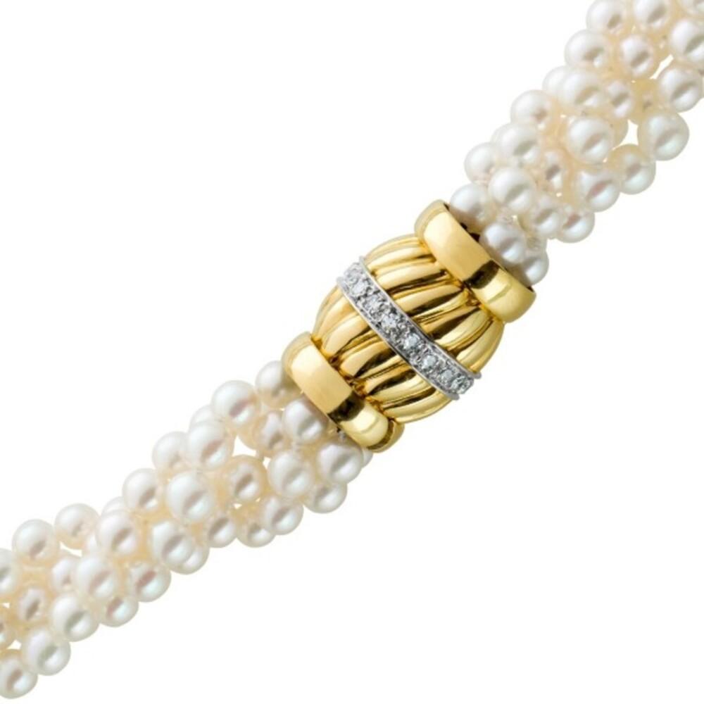 Perlcollier Perlenkette jap. Akoyaperlen mehrreihig weiss rose Gelbgold 750 Schliesse Diamanten, 46cm