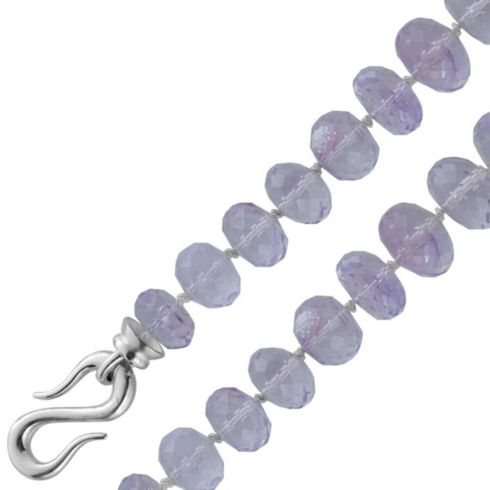 Antikes Edelsteinarmband 80er Jahre, Top Zustand riesige violette Amethyst Edelsteine Silber 925 Verschluss als Endloszeichen Länge 22cm