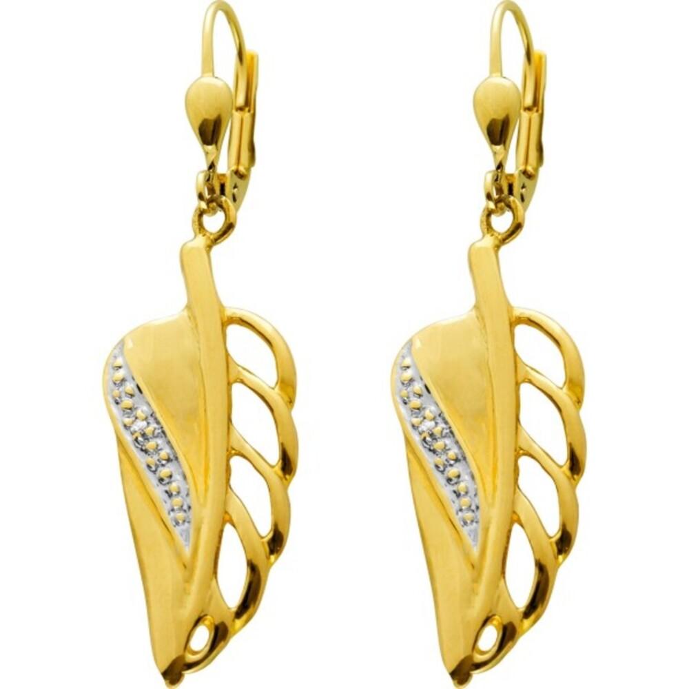 Brisur Flügel Ohrhänger Gelbgold 333 Diamanten 8/8 W/P Zus. 0,01 Carat Auf Gelbgold/Weissgold Bett