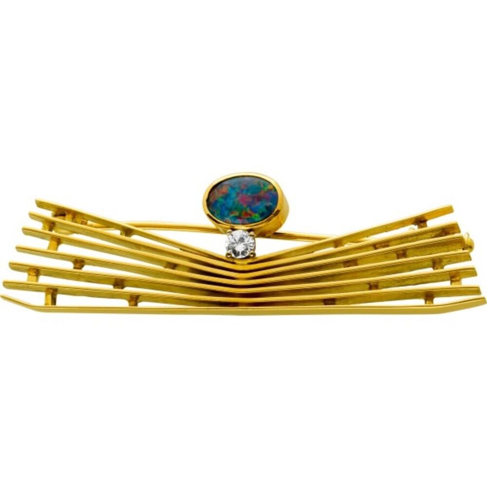 Antike Anstecknadel Gelbgold 750 Brillant TW/VVSI 0,09 Carat Blaugrün Opal Jugendstil Um 1920 TOP Zustand