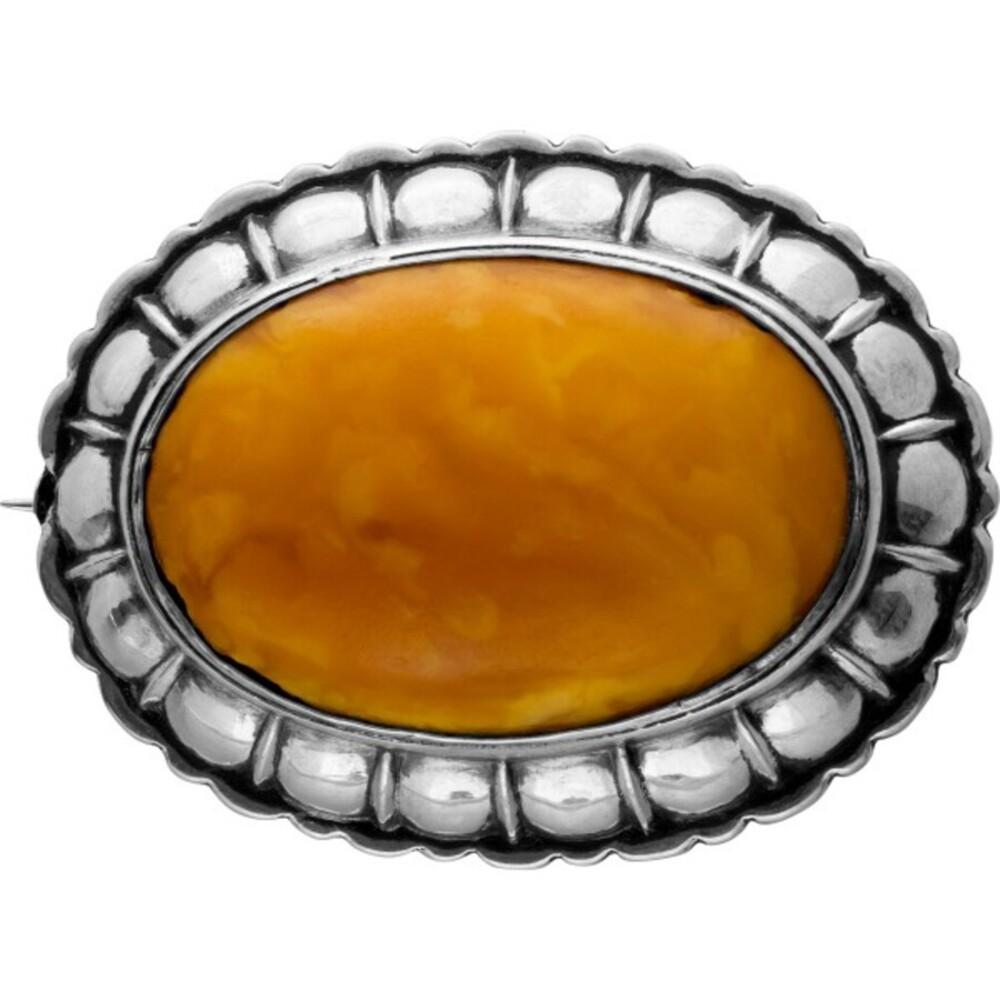 Antike Bernsteinnadel um1850 Silber 800 Karamel farb. Butterscotch Soda Bernstein, 50x38mm