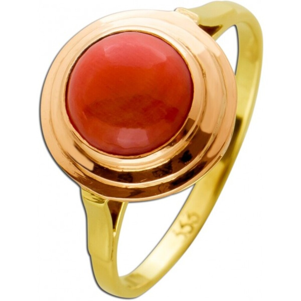 Antiker Korallen Ring Gelbgold 333 Poliert Um 1930 TOP Zustand