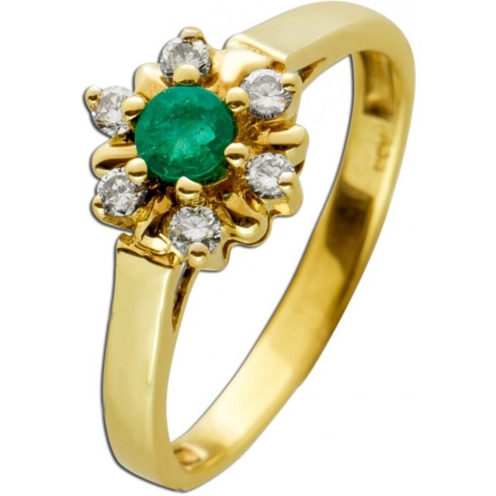Antiker Brillant Smaragd Ring Lady Dye Stil Gelbgold 333 Poliert Brillanten W/SI Zus. 0,15 Carat Edelstein Rund Um 1970 TOP Zustand