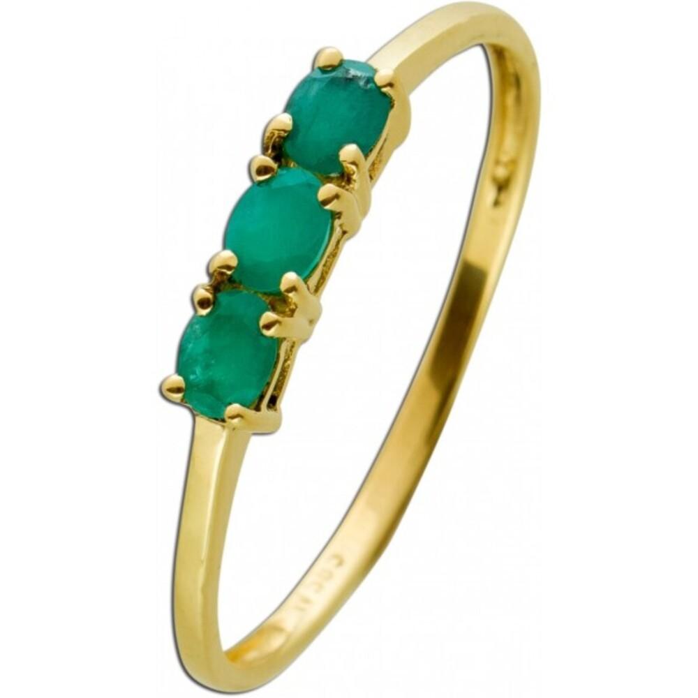 Smaragd Ring Gelbgold 585 Poliert Edelsteine Oval Facettiert