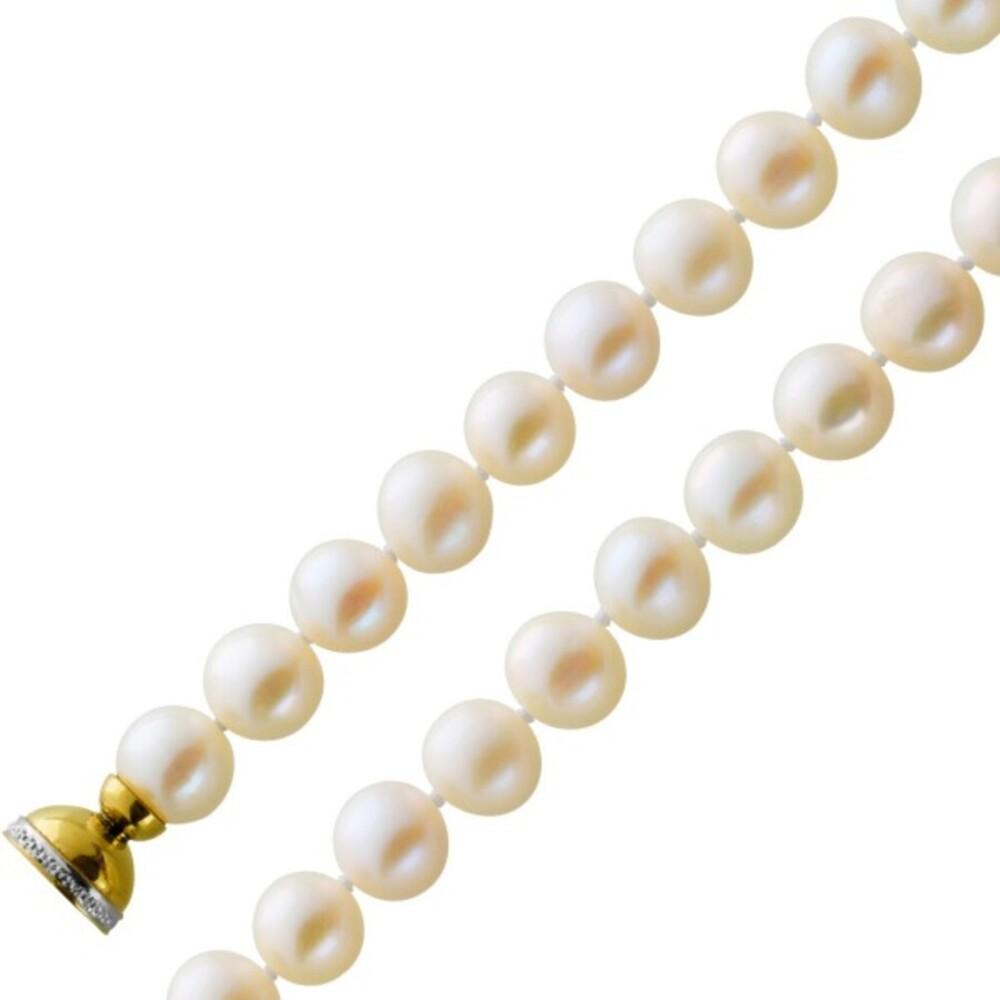 Zuchtperlen Armband Silber 925 Vergoldet Süßwasserperlen Weiß 9,2mm Kugelmagnetverschluss