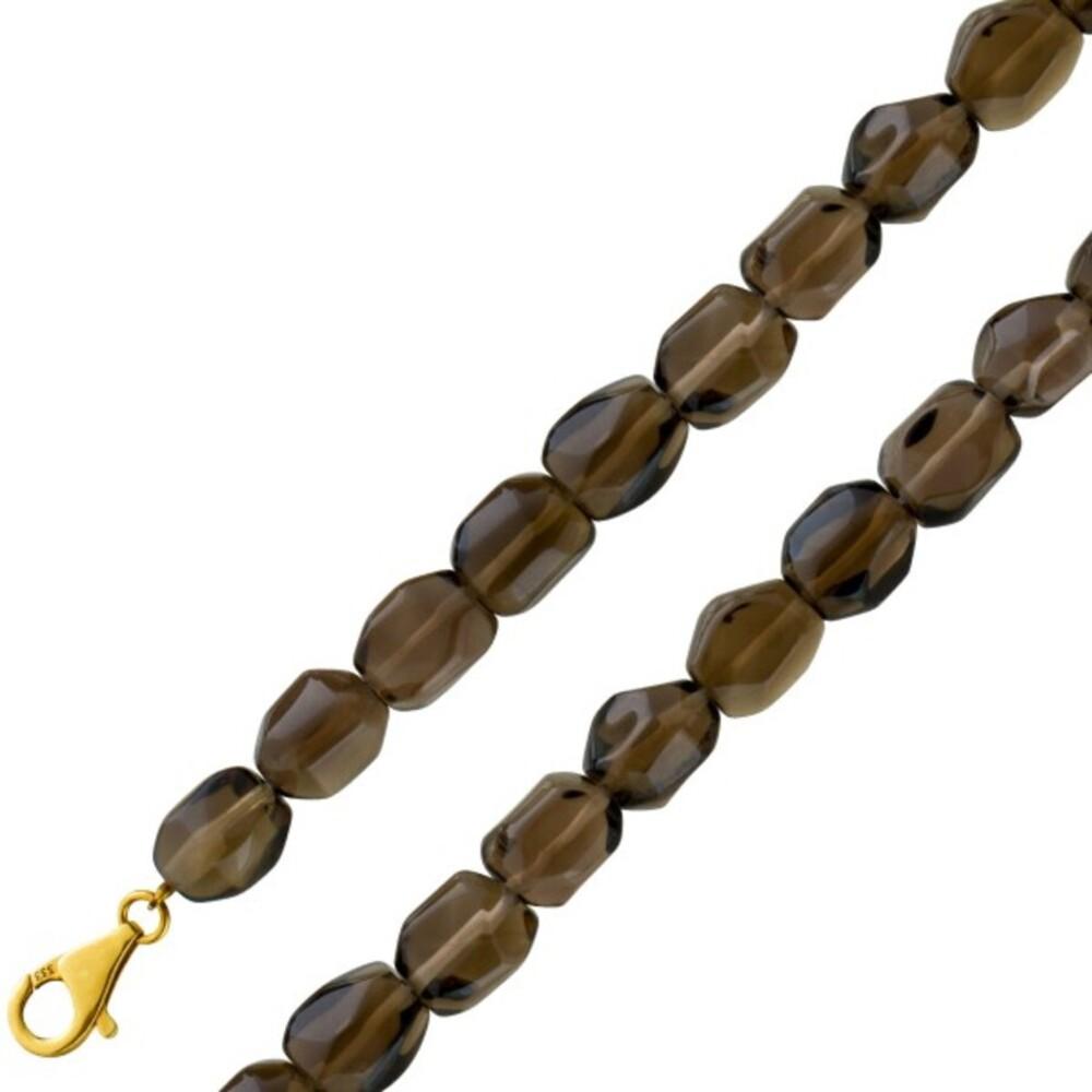 Edelstein Armband brauner ovaler Rauchquarz 7mm Gelbgold 333 Karabiner 20,5cm