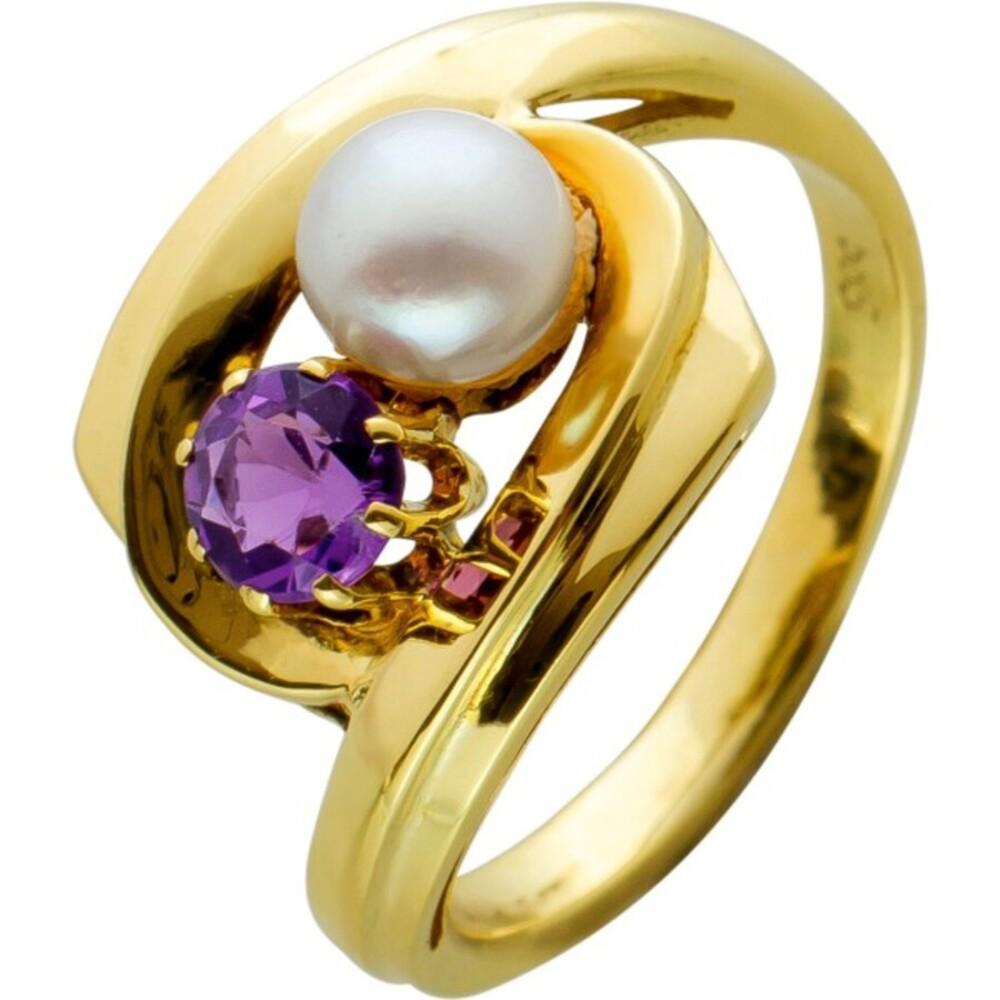 Antiker Amethyst Perl Ring Gelbgold 585 Amethyst Akoyazuchtperle