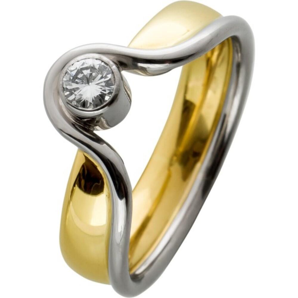 Vintage Ring 80er Jahren Gelbgold Weissgold 750 Solitär Brillant Exclusiv