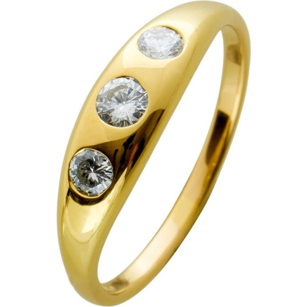 Brillantring Antik Gelbgold 750 Brillanten