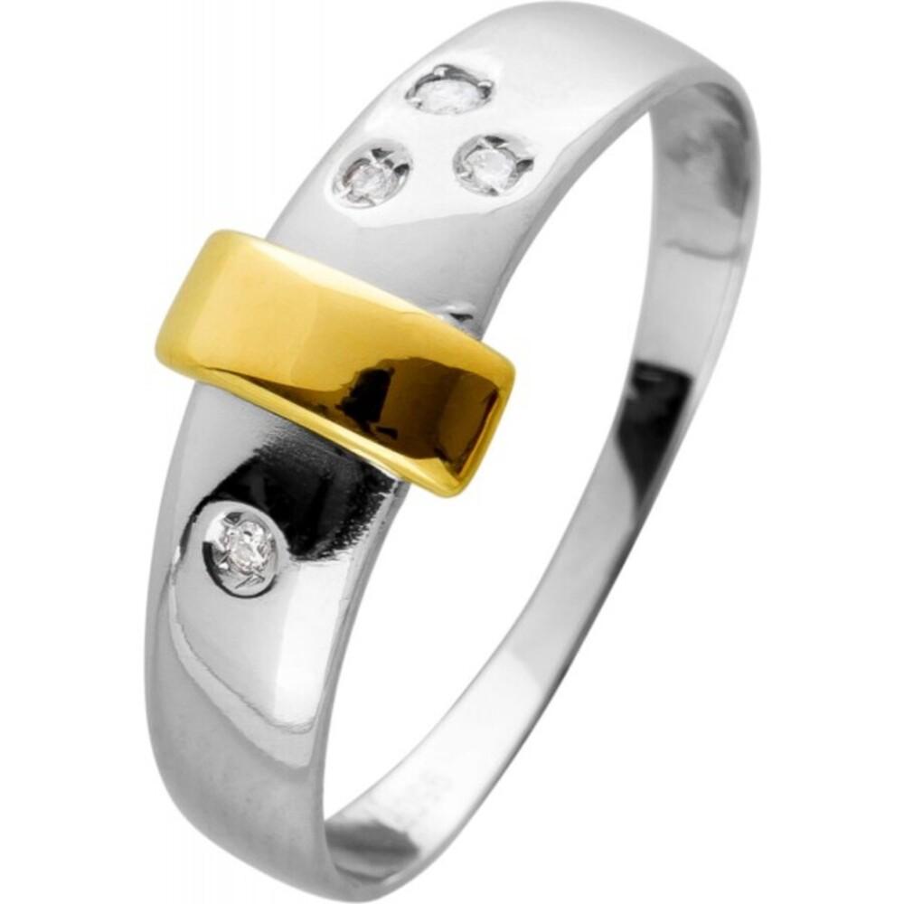 Diamant Ring in Platin 950 Gelbgold 750 Auflage,mit 4 Brillanten zus. 0,04ct W/SI, Gr.19mm