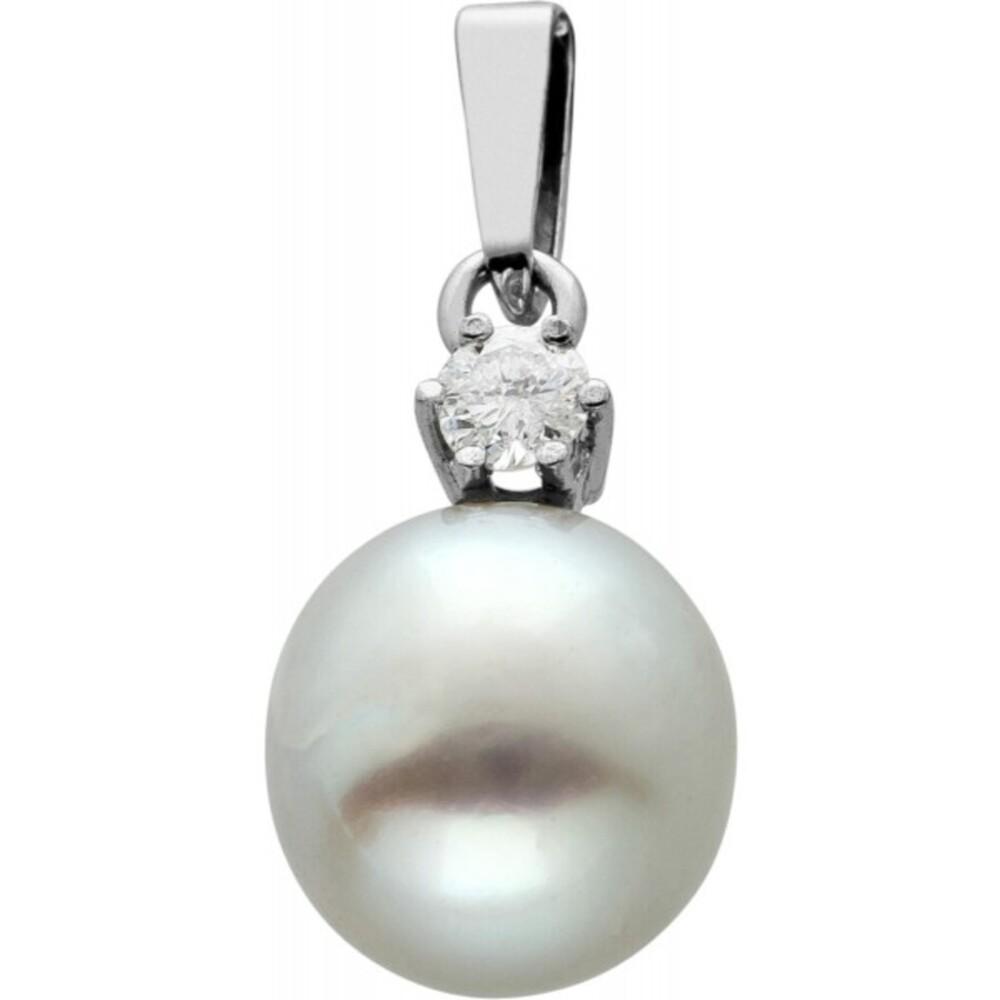 Klassischer Perlanhänger Weissgold 585, Südeseeperle,Brillant 0,06ct W/I1