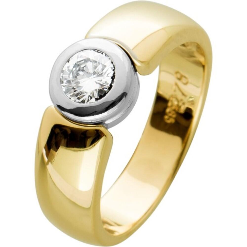 Brillant Ring WeissgoldGelbgold 585,1 Brillant, 0,41ct TW/VSI, Gr. 17,5mm