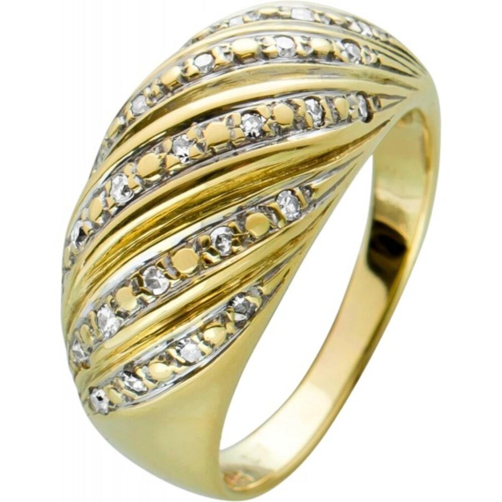 Antiker Diamantring,Weissgold,Gelbgold ,585, 25 Diamanten 8/8 zus. 0,13ct W/SI,Gr. 17,2mm