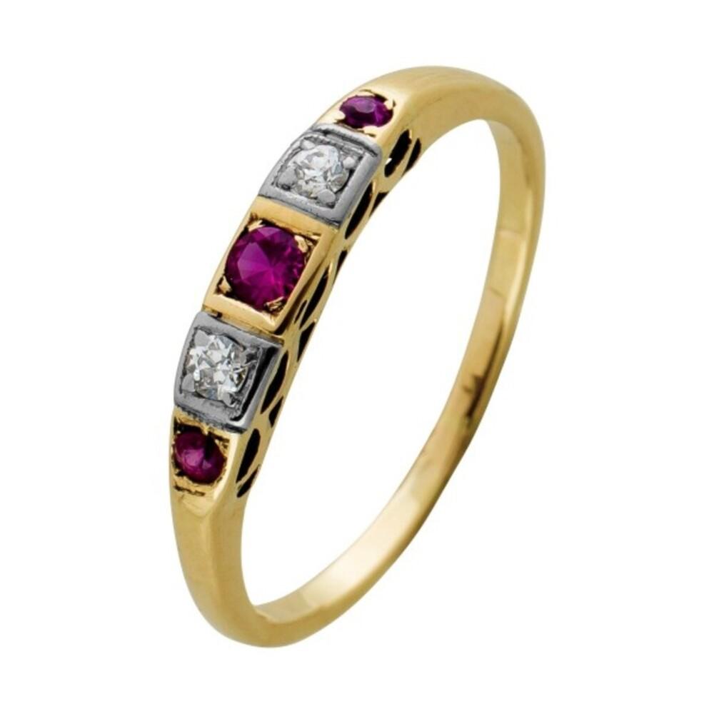 Antiker Ring Gelbgold 585, 3 Rubine 2 Brillanten zus. 0,05ct  W/SI,Gr. 17mm