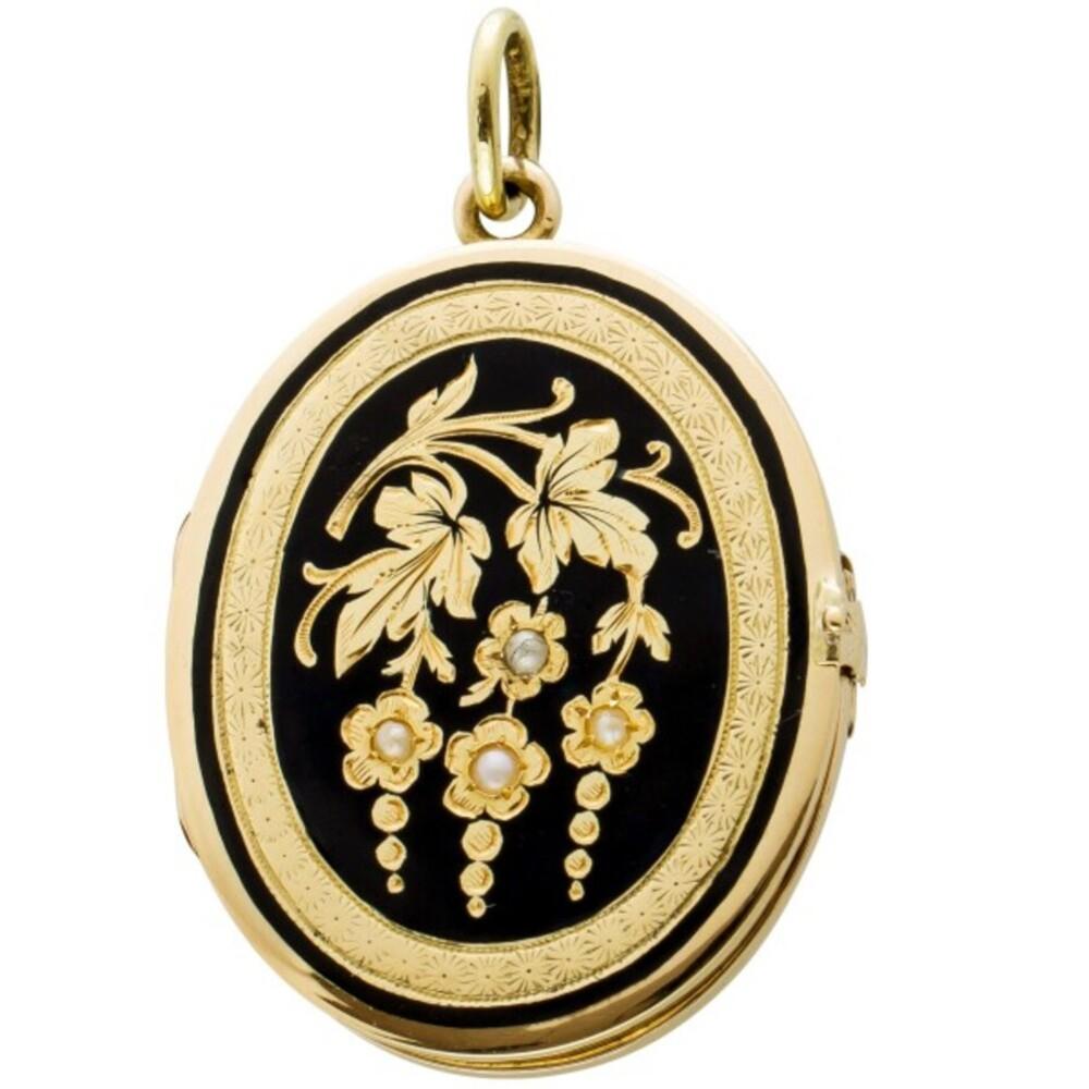 Antikes Medaillon um 1900,Gelbgold 585 mit schwarzerEmaille, 4 Flussperlen, 9 Gramm