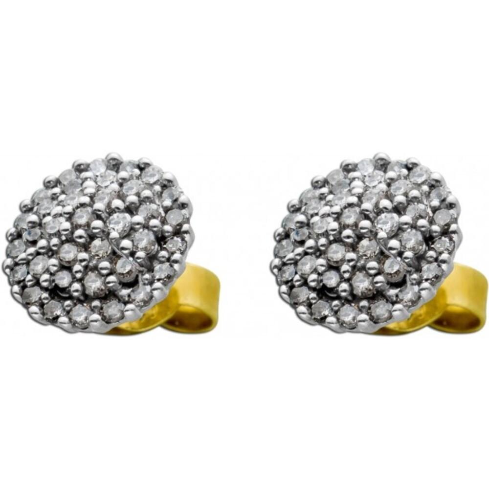 Diamant Ohrstecker Gelbgold 585 70 Diamanten zus. 0,70ct Champagnerfarben