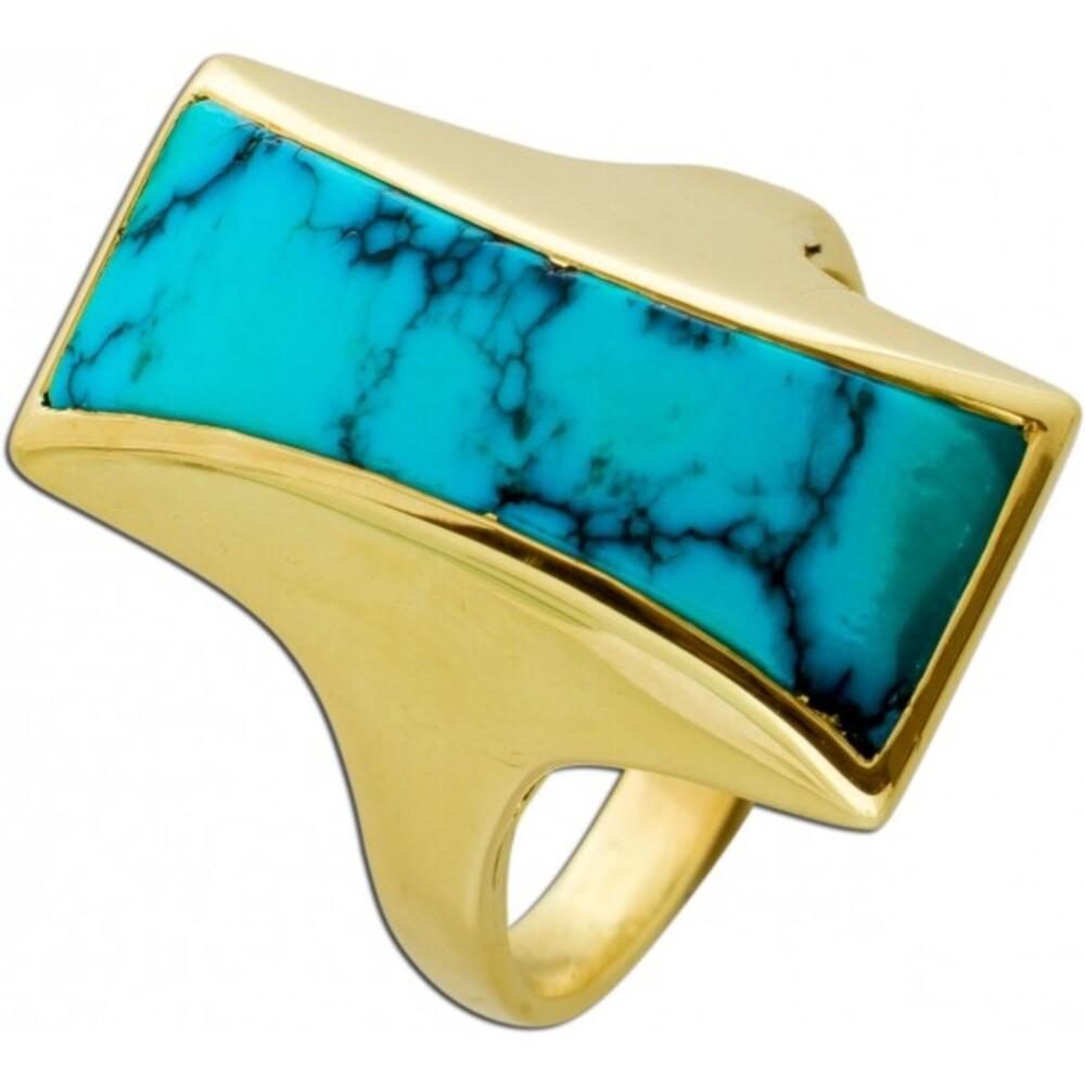 Antiker Türkis Ring Gelbgold 585 Edelstein Natürliche Maserung Um 1950 TOP Zustand