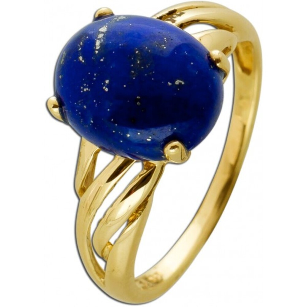 Lapislazuli Ring Gelbgold 333 Azurblau Edelstein Cabochon
