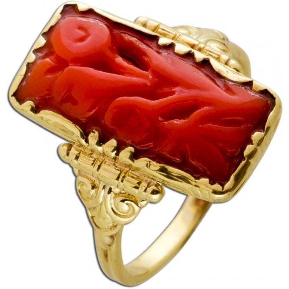 Antiker Korallen Ring Gelbgold 585 Orange Edelstein Um 1920 TOP Zustand