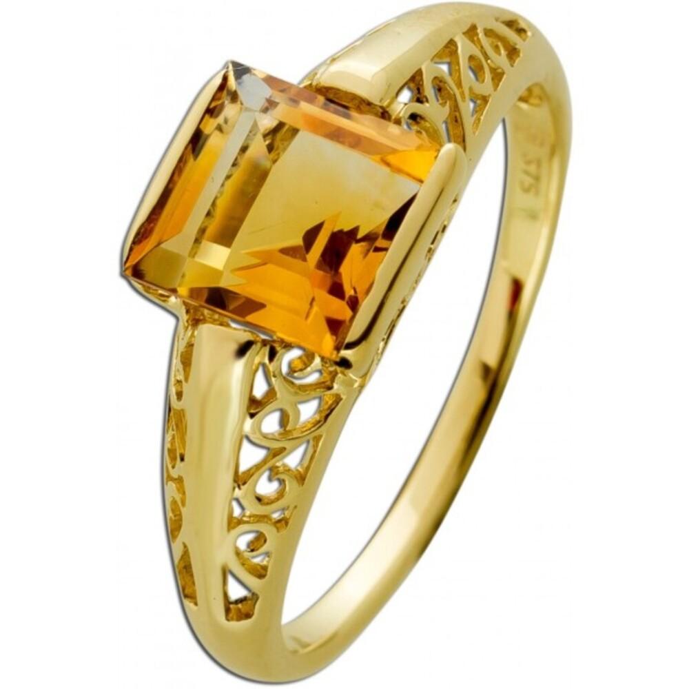 Antiker Citrin Ring Gelbgold 375 Cognacfarbener Edelstein Um 1930 Sehr Guter Zustand
