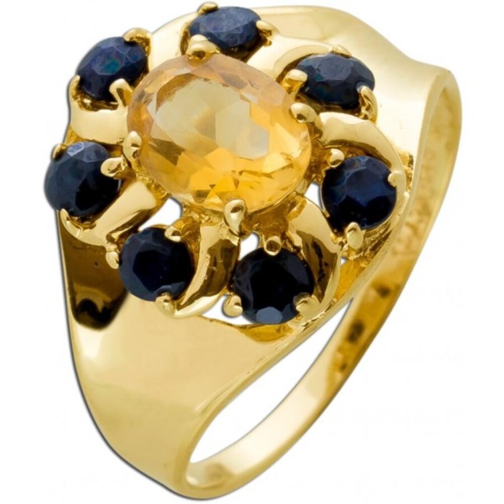 Antiker Citrin Saphir Ring Gelbgold 585 Cognacfarben Azurblau Edelsteine Um 1930 TOP Zustand
