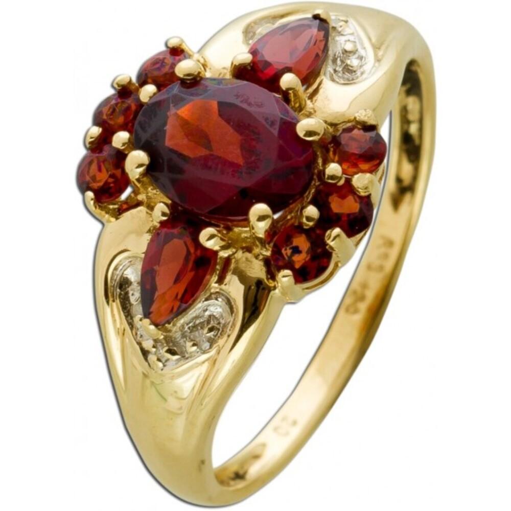 Antiker Granat Ring Gelbgold 333 9 Rote Edelsteine Um 1960 TOP Zustand