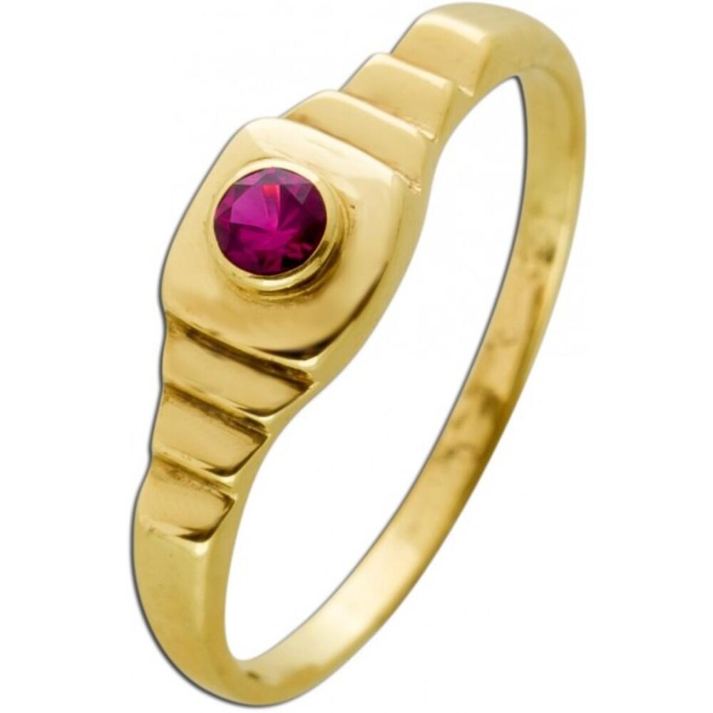 Antiker Rubin Ring Gelbgold 333 Synthetischer Roter Edelstein Um 1920 Sehr Guter Zustand
