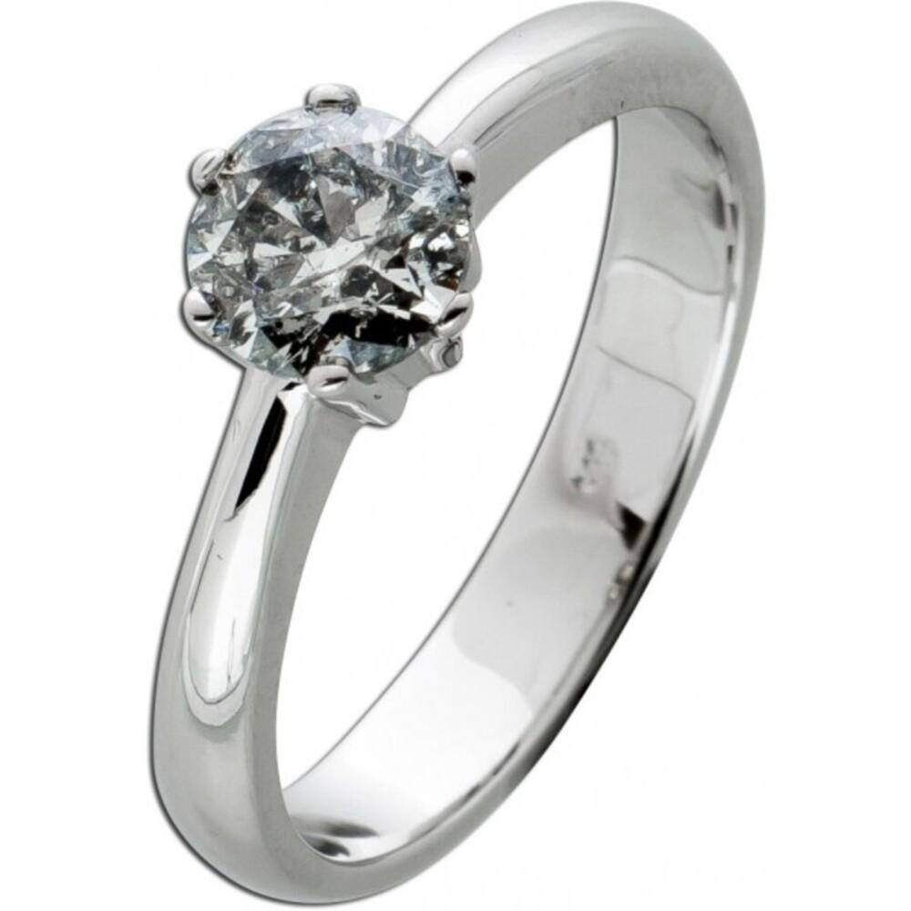 Brillantring Diamantring Solitär 0,91ct Weissgold 585 Brillant Gr. 17,5mm, mit Görg Zertifikat
