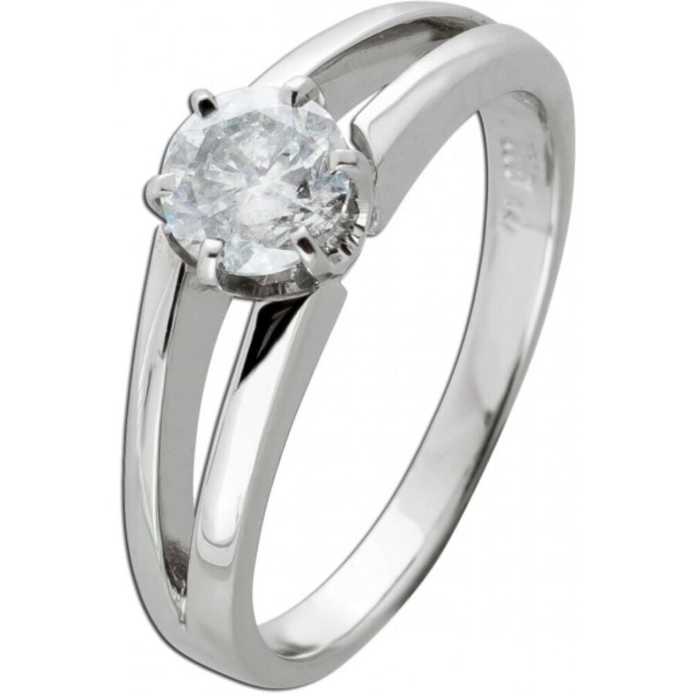 Brillantring Diamantring Solitär 0,94ct Weissgold 585 Gr. 17,5mm, mit Görg Zertifikat