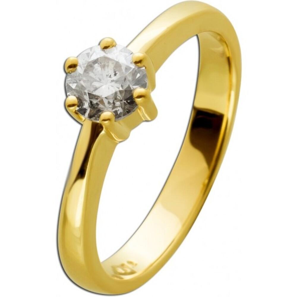 Brillantring Diamantring Solitär 0,72ct Gelbgold 585 Gr. 17,5mm, mit Görg Zertifikat