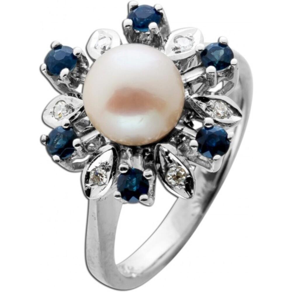 Antiker Edelsteinring Saphir Brillant Perlen 1960 Weißgold 585 blaue Saphire Japanische Akoyaperle Brillanten Unikat